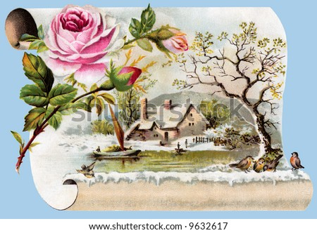 Winter Scenic - a circa 1890 vintage greeting card illustration - stock photo