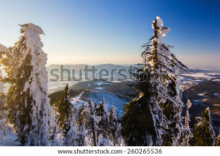 Winter scenic mountain landscape, aerial shot of valley framed with trees, picture taken from Lysa hora in Beskydy mountains