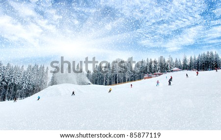 Winter scenic of people skiing - stock photo