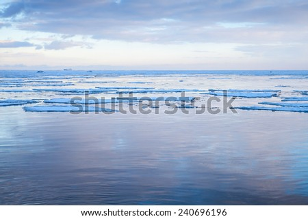 Winter Sea coastal landscape with floating ice fragments on still cold water. Gulf of Finland, Russia - stock photo