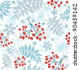 Winter seamless white pattern with berries, leaves and snowflakes - stock vector