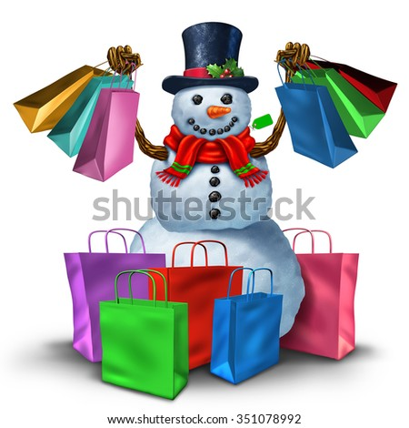 Winter shopping and christmas sale concept as a happy snowman holding a group of retail store bags as a joyous customer and holiday shopper symbol. - stock photo