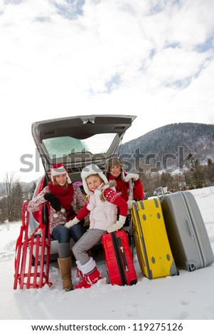 Winter, ski, journey - family with baggage ready for the travel for winter holiday - stock photo