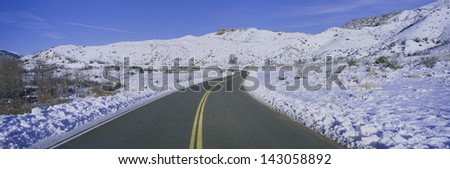 Winter snow along Route 33 in the Los Padres National Forest Wilderness area known as the Sespe, California - stock photo