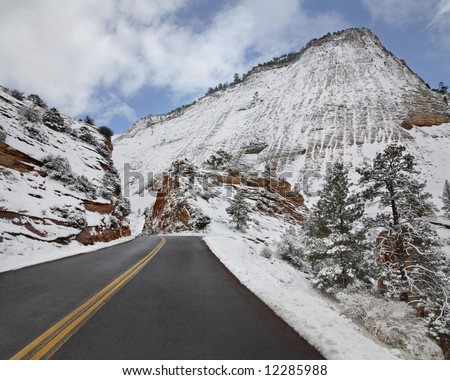 Winter Snow At Zion National Park, Utah - stock photo