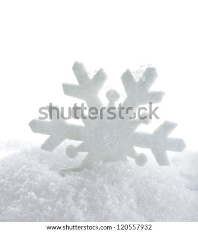 winter snow background card with one snowflake  isolated on white background - stock photo