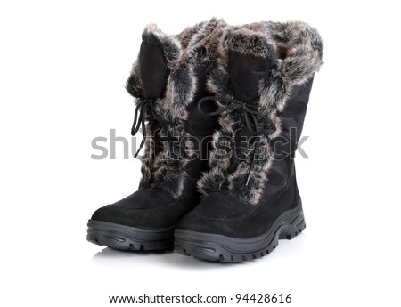 Winter snow boot isolated on white background - stock photo