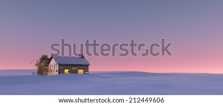 Winter snow landscape at sunset with solitude cabin.  - stock photo