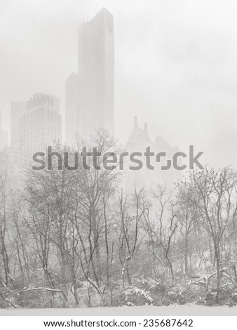 Winter snowfall and cold wind in Central Park making the towering New York buildings disappear in the distance and turning the city exceptionally silent. Cityscape during a snowstorm. - stock photo