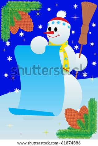 Winter. Snowman is holding a roll of paper.