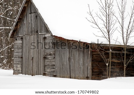 Winter snows pile up on an old weathered barn at an abandon cherry orchard in Door County, Wisconsin. - stock photo