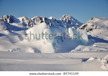 Winter snowy and icy landscape, Greenland - stock photo