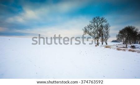 Winter snowy field landscape. Polish fields after blizzard. - stock photo