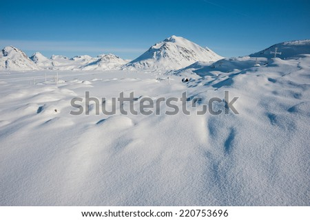 Winter snowy landscape of Kulusuk, small village in Greenland - stock photo