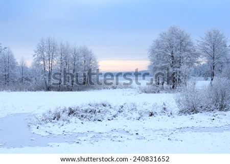 Winter snowy landscape with a frozen lake - stock photo
