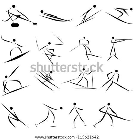 Winter sport games icon set. Raster version. - stock photo