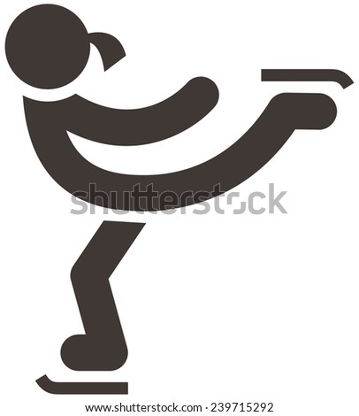 Winter sport icons set - figure skating icon - stock photo