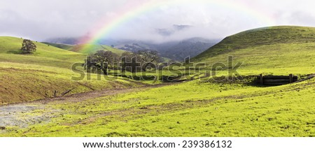 Winter Storm Clouds, Rainbow, Green Hills and Oak Trees Panoramic - stock photo