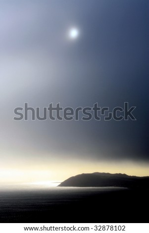 Winter sun over Bray Head, County Wicklow, Ireland - stock photo