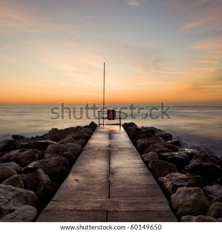 Winter sunrise at Jetty, Sandbanks, Poole, Dorset, UK