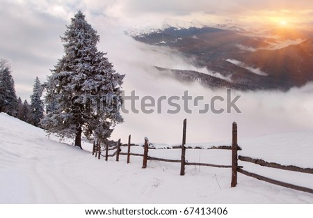 winter sunrise in the mountains - stock photo