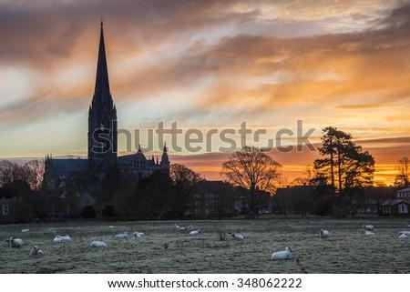 Winter sunrise landscape Salisbury cathedral city in England - stock photo