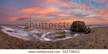 Winter sunrise panorama - stock photo