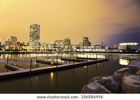Winter sunset in Milwaukee seen from the lakefront - stock photo