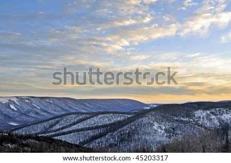 Winter Sunset in the Mountains of West Virginia Horizontal With Copy Space - stock photo