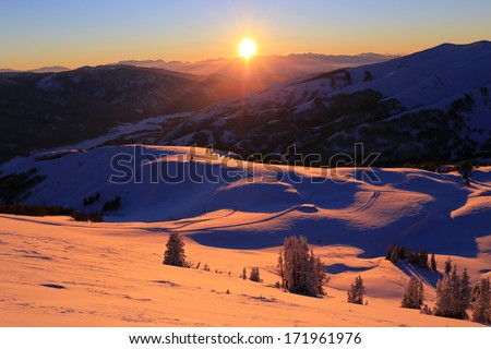 Winter sunset in the Uinta mountains, Utah, USA. - stock photo