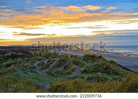 Winter sunset in Wenduine near the sea, Belgium - stock photo