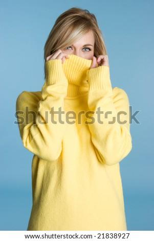 Winter Sweater Girl - stock photo