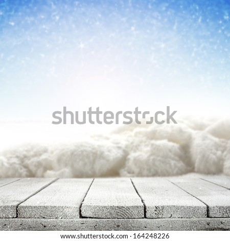 winter table and snow  - stock photo