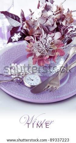 Winter table setting - stock photo
