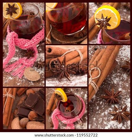 winter tea collage - stock photo