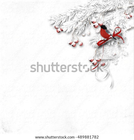 Winter texture with snowy red berries and bullfinch