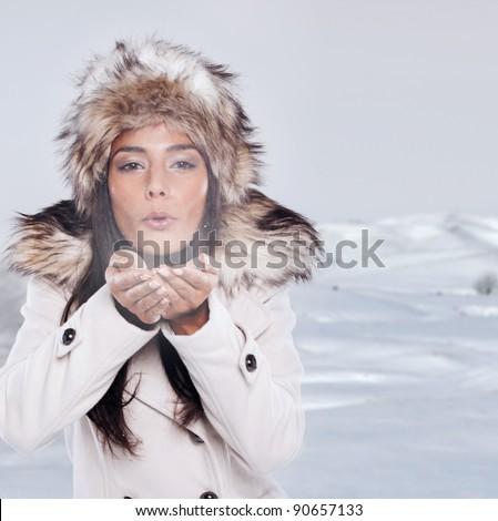winter theme fashion brunette woman - stock photo