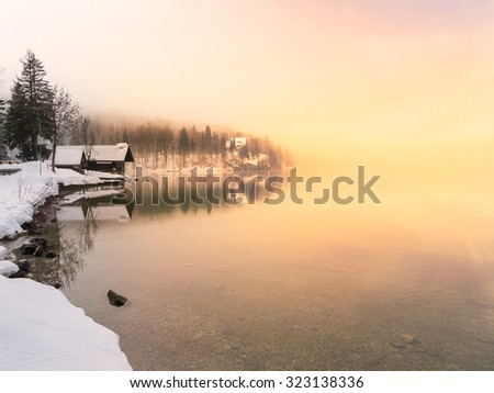 Winter time in lake Bohinj in Triglav national park-Slovenia - stock photo