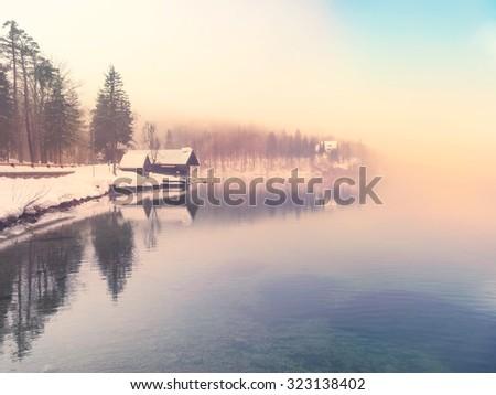 Winter time in lake Bohinj in Triglav national park-Slovenia - stock photo