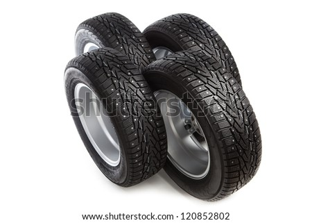 winter tires set isolated on white - stock photo