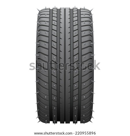 Winter tires with metal spikes. Realistic illustration isolated on white background. - stock photo