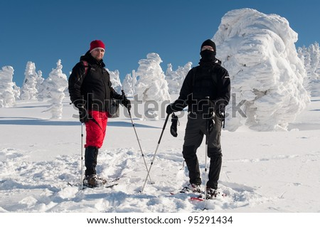 Winter tourists with snowshoes during a beautiful sunny day. - stock photo