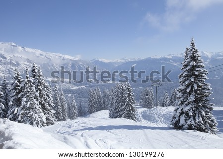 Winter trees in mountains covered with fresh snow. Switzerland, - stock photo