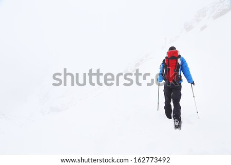 Winter trekking in the Dolomites, Italy, Europe
