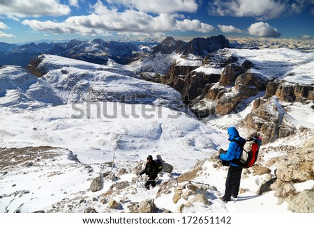 Winter trekking in the Dolomites, Sella Group, Italy, Europe - stock photo