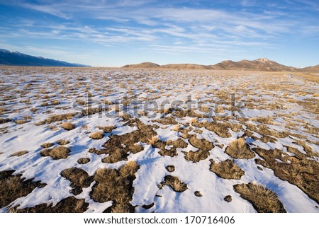 Winter Tundra Desert Landscape Great Basin Area Western USA - stock photo