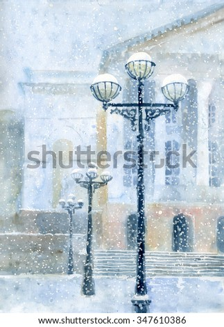 winter urban landscape - stock photo