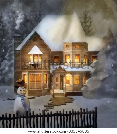 Winter victorian house - Painted illustration - stock photo