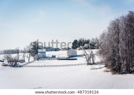 Winter view of a snow-covered farm in rural Carroll County, Maryland.
