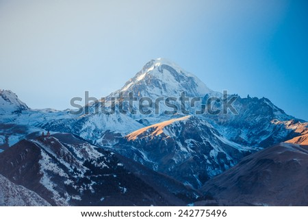 Winter view of Caucasus Mountains near Kazbek, Georgia